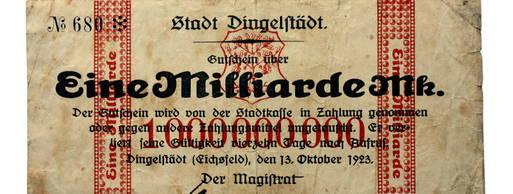 Die Inflation nach dem 1. Weltkrieg in Dingelstädt